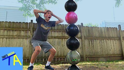 Stacking bowling balls